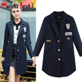 Womens Autumn Bomber Long Blazer Casual Trench Coat Appliques Embroidery Pattern Single Breasted Loose Fashion Lady Outerwear