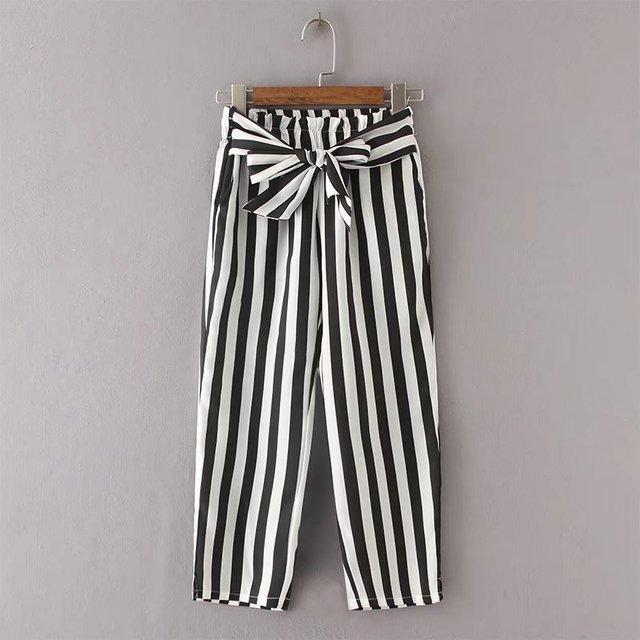 794ce8e15d005 2017 Automne Casual Noir Blanc Rayé Femmes lâche pantalons Dames Arc  Dentelle-up taille Haute