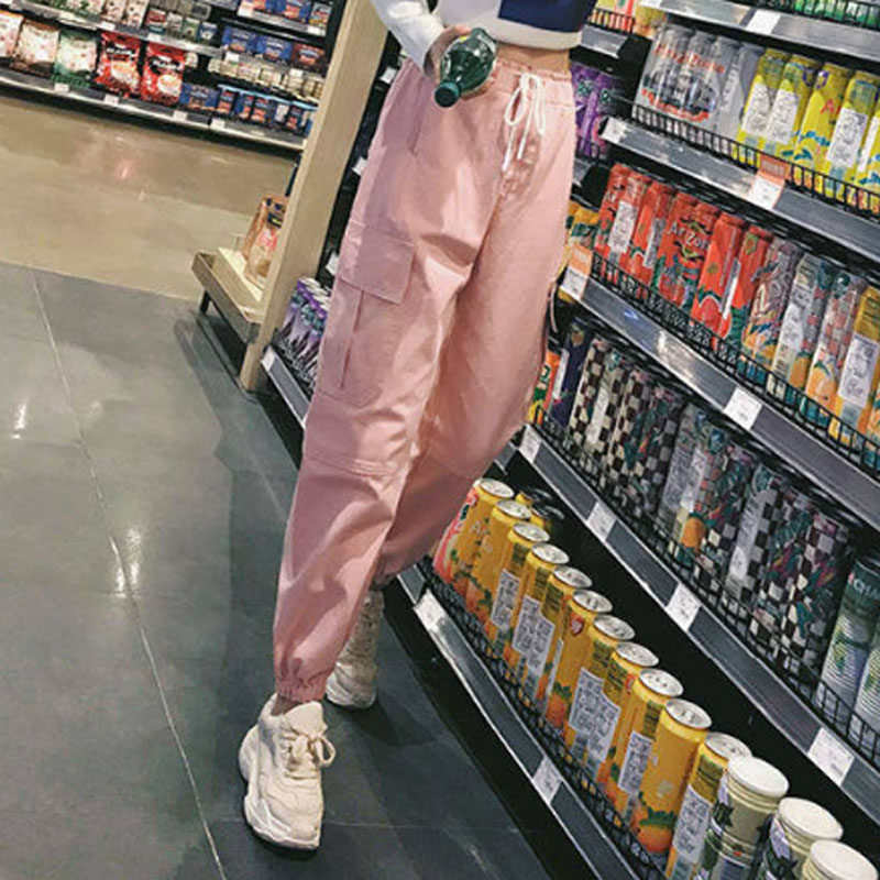 Cotton High Waist Cargo Pants 2019 Spring Pink Khaki Black Female Trousers 62