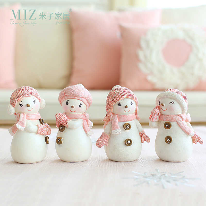 Miz Home 1 Set 4 Pieces Snowman Collection Christmas Gift for Kids Christmas Decoration for Home Lovely Resin Doll