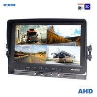 DIYSECUR AHD 4PIN 9 дюймов 4 разделение Quad ЖК дисплей экран заднего вида Мониторы поддержка 1080 P AHD камера с SD карты видео запись