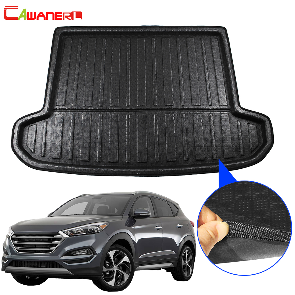 Cawanerl Car Cargo Mat Boot Tray Liner Tail Trunk Carpet Mud Kick Floor Luggage Pad Accessories For Hyundai Tucson 2016-2019