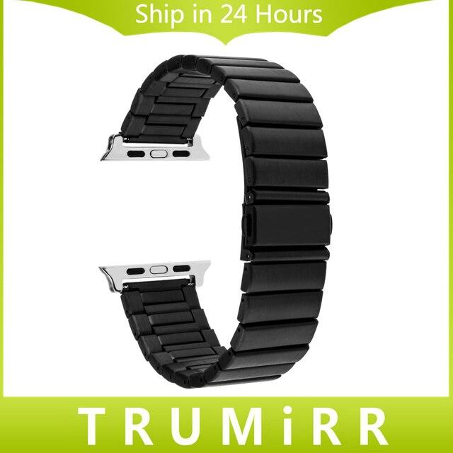 Нержавеющая Сталь Ремешок Для Часов + Адаптеры для iWatch Apple Watch 38 мм 42 мм Замена Ремешок Ремешок Ссылка Браслет Черный Серебристый
