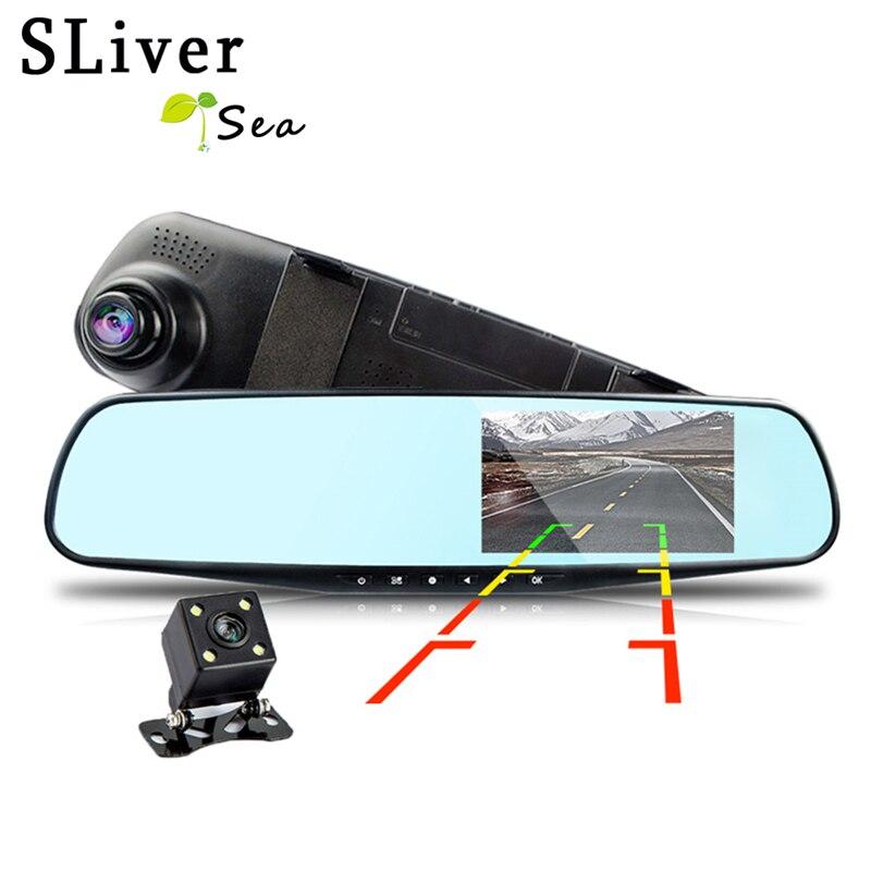 SLIVERYSEA HD Double Lentille Voiture Caméra Rétroviseur Auto Dvr Voitures Dvr Nuit Vision Parking Vidéo Enregistreur Registrator Dash Cam