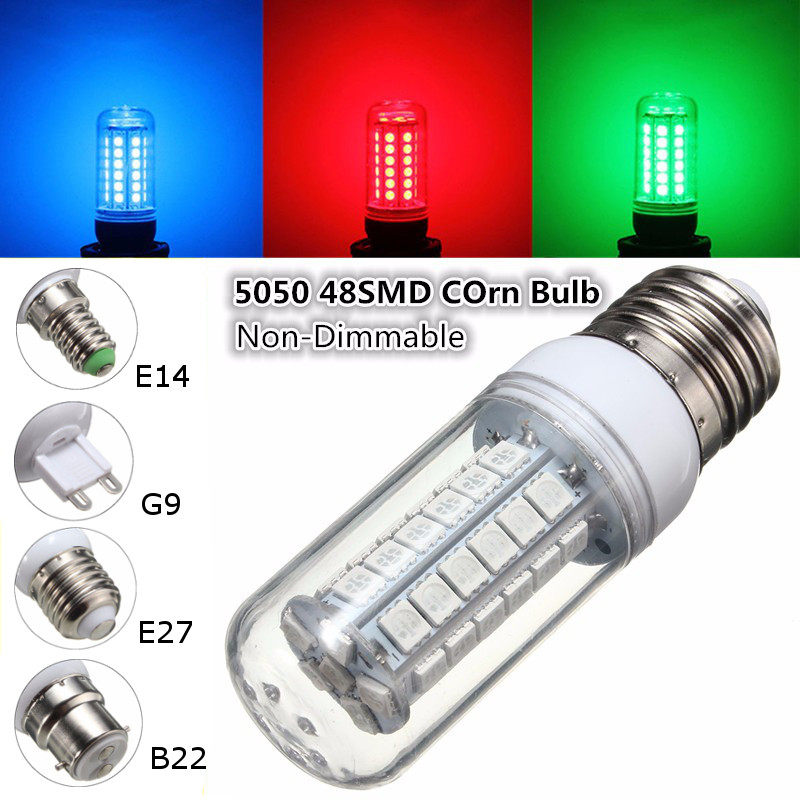 3.5W 48 LED Light Bulb Corn Lamp E27 E14 G9 B22 5050 SMD Spotlight Bulb Lighting Red Green Blue 300 Lumen Non Dimmable AC110V