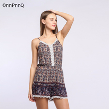 2017 Bohemian holiday print sexy Beach playsuit high waist elastic waist straps rompers elegant Tassels overalls
