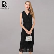 Женское платье размера плюс, L-5XL, высокое качество, лето, весна, платье с v-образным вырезом, без рукавов, длина до икры, модное, сексуальное, элегантное, черное, кружевное платье