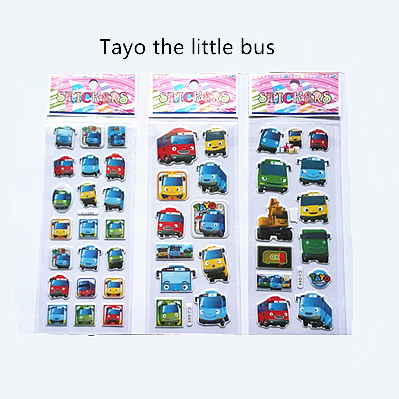 Hot sell 6pcs/set Tayo the little bus tag pegatinas juguetes 3D cartoon stickers pegatinas infantiles kids stickers in notebook