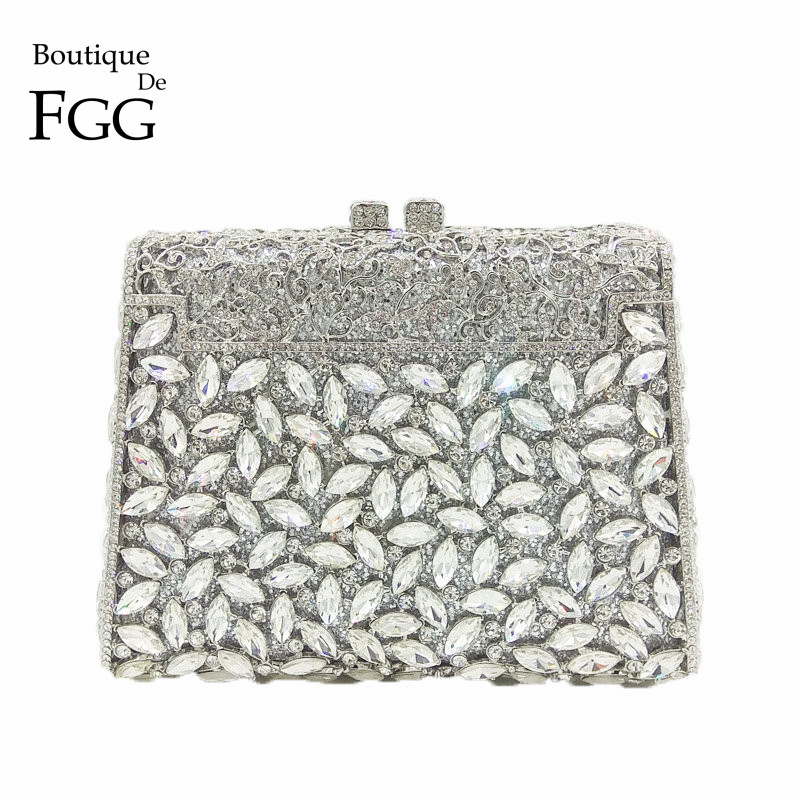 Boutique De FGG Dazzling Silver Diamond Minaudiere Clutch Evening Bags Women Wedding Party Cocktail Handbag Bridal