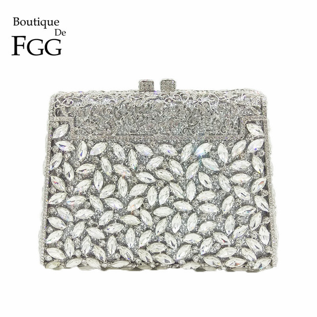 05f327e6c2b4e US $59.99 40% OFF|Boutique De FGG Dazzling Silver Diamond Minaudiere Clutch  Evening Bags Women Wedding Party Cocktail Handbag Bridal Crystal Purse-in  ...