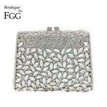 e51ef928a Boutique De FGG deslumbrante plata diamante Minaudiere embrague noche  bolsas mujeres boda fiesta cóctel bolso nupcial cristal mo.