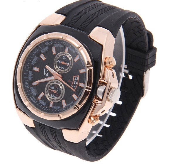 High Quality V6 Silicone Watch Men Fashion Military Sports Quartz Analog Wristwatch Relogio Masculino VP0103 super speed v6 v0198 men s fashion silicone band analog quartz watch black tangerine 1 x lr626