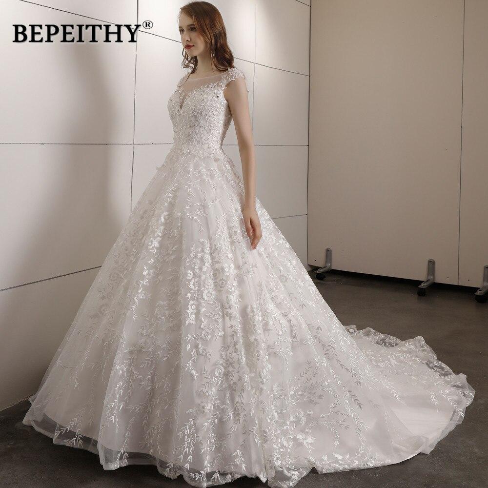 Vestido de casamento do laço do vintage tribunal trem com miçangas vestidos de novia vestido de baile do vintage vestidos de casamento 2019 vendas quentes