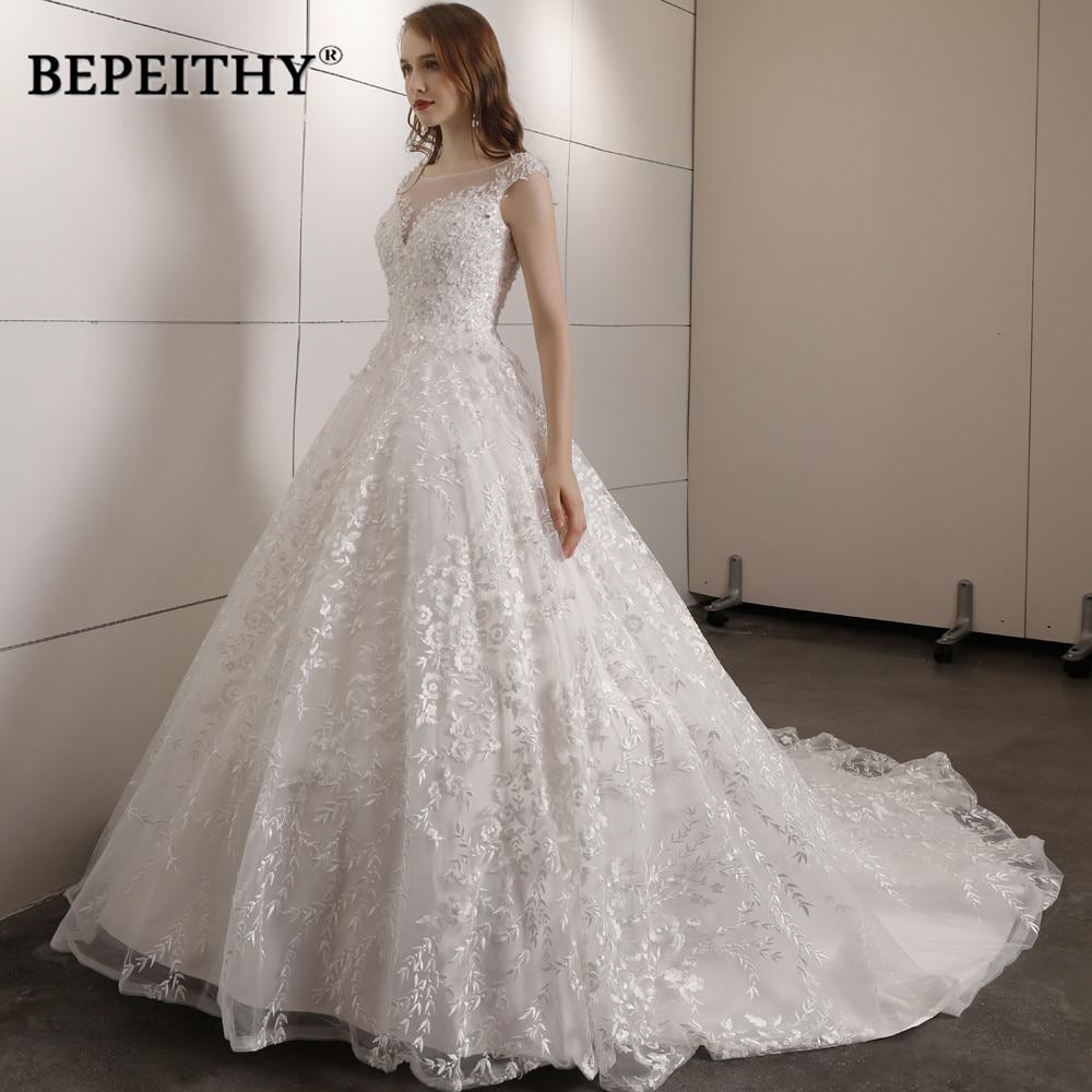 Vintage robe De mariée en dentelle Court Train avec perles Top Vestidos De Novia Vintage robe De bal robes De mariée 2019 offres spéciales