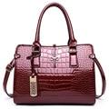2017 весной большой емкости женщины сумки Высокого качества лакированной кожи крокодила элегантный дамы сумка для бизнеса и пати