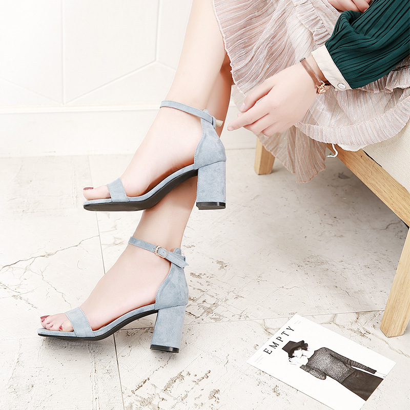 Beige Black Gladiator Sandals Summer Office High Heels Shoes Woman Buckle Strap Pumps Casual Women Shoes Plus Size 34-40 n686 2