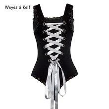 Weyes & Kelf Lace Up Skinny Black Short Rompers Womens Jumpsuit 2018 Summer Bandages Backless Women Sexy Bodysuit