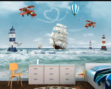 Wallpapers YOUMAN Custom Modern Photo Mural Kids 3D Cartoon Ocean Sea Boat Helicopter Nordic Style For Bedroom Child Room(China)
