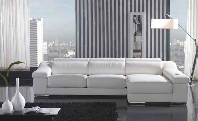 House Modern Sofa Top Grain Real Leather Sofa Couches L Shaped Sectional  Corner Sofas Small Living