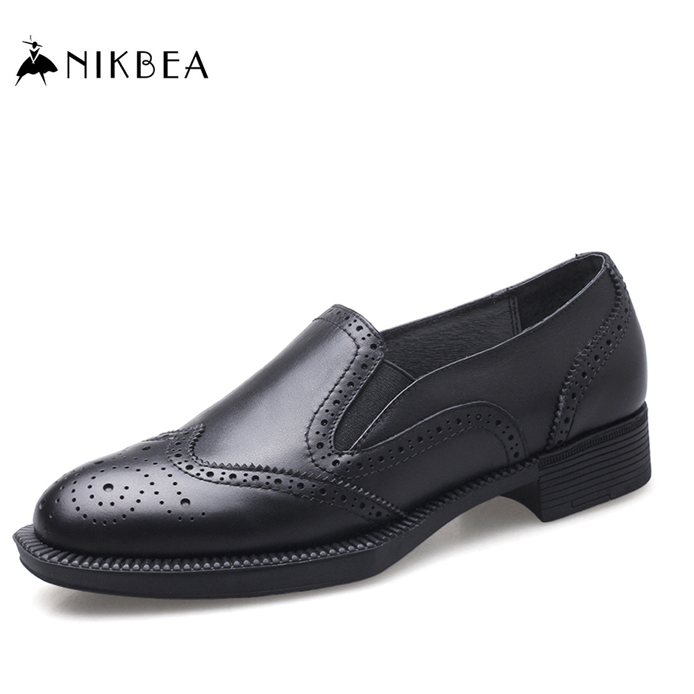 NIKBEA 2017 Spring Genuine Leather Round Toe Flat Heel Design High Quality Office Ladies Shoes Women Flats Casual Harajuku Shoes first fa 6400 black весы кухонные