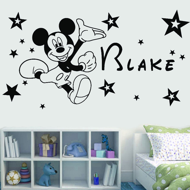 Customizable name cartoon character  vinyl wall applique boy girl room home decoration wallpaper art mural DZ40