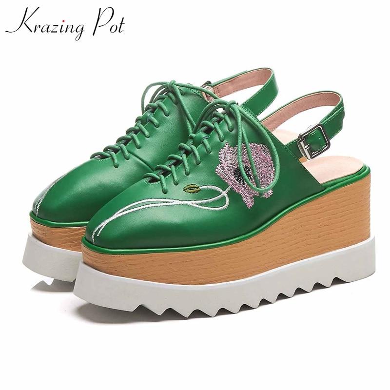 Krazing pot genuine leather summer square toe female handmade flower embroidery slingback thick bottom high heel