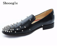 SHOOEGLE Fashion Handmade Luxury Black Leather Men Shoes Spikes Embellished Loafers Slip On Rivets Men Wedding Shoes
