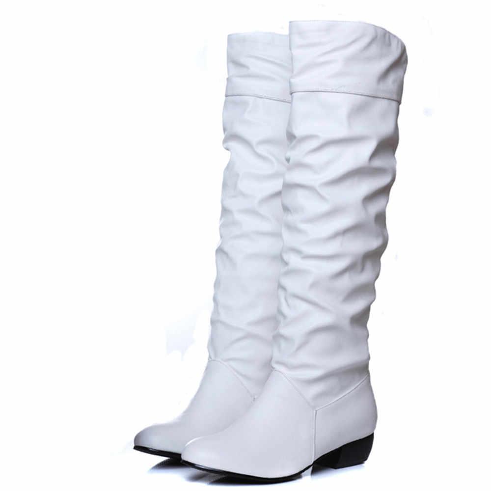 MEMUNIA Artı boyutu 2020 yeni gelmesi Kış Orta Buzağı Kadın Çizmeler Siyah Beyaz Kahverengi düz ayakkabı yarım çizmeler sonbahar kış ayakkabı