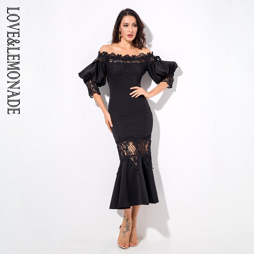 Kadın Giyim'ten Elbiseler'de Aşk ve Limonata Siyah Damla Omuz Dantel Paneli Fener Kollu Parti Elbise LM1199'da  Grup 1