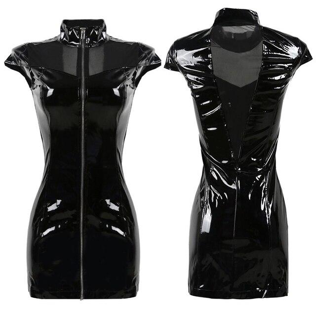 61c36ab86ed40 2018 New Black Vinyl PVC Dress Gothic Summer Style Corset Mesh Patchwork  Faux Leather Punk Fetish Zipper Dresses Plus Size S XXL-in Dresses from ...