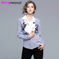 Autumn Spring Women Shirts Blue White Stripe Plus Size Flower Horse Embroidery Long Sleeve Elegant All