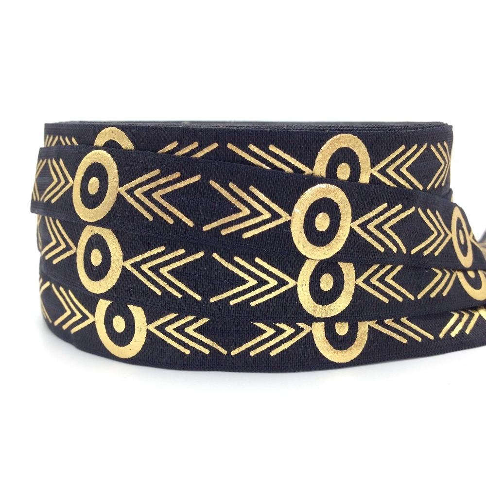 Hot Sale 10 Yards Gold Foil Aztec Print Fold Over Elastic 5/8 Black FOE Ribbon Webbing for DIY Headwear Hair Tie Hair Accessory