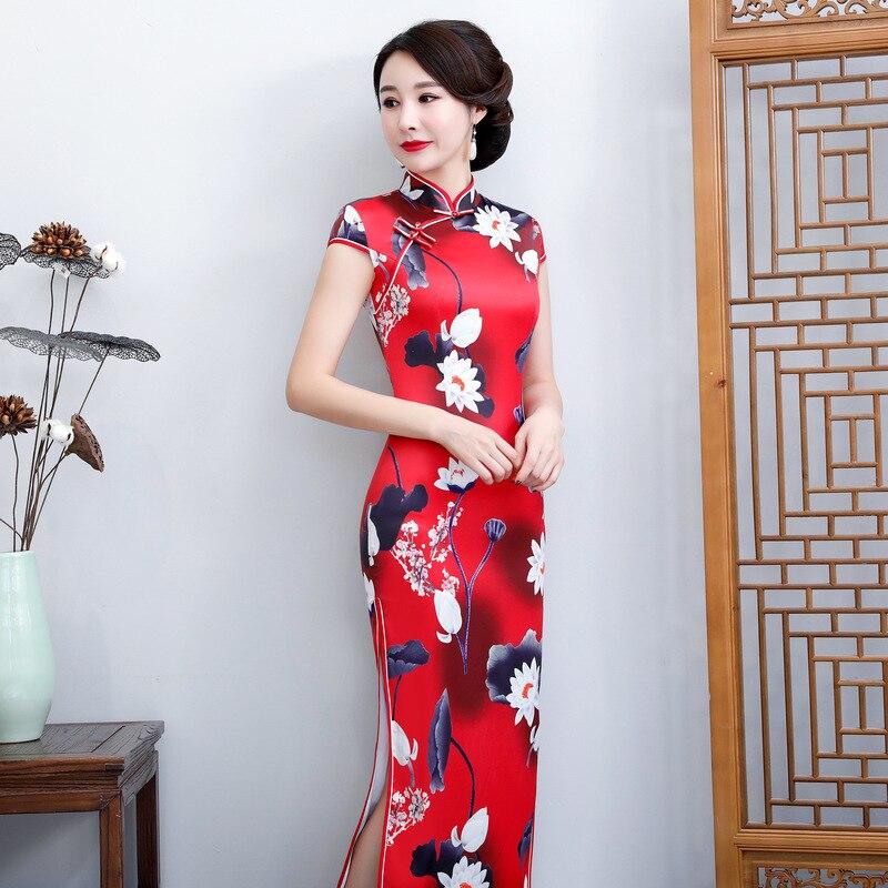 BIG SIZE 5XL 6XL  Female Satin Novelty Short Sleeve Qipao Chinese Bride Weeding Dress  Long Flower Cheongsam Sexy Vestidos M-6XL