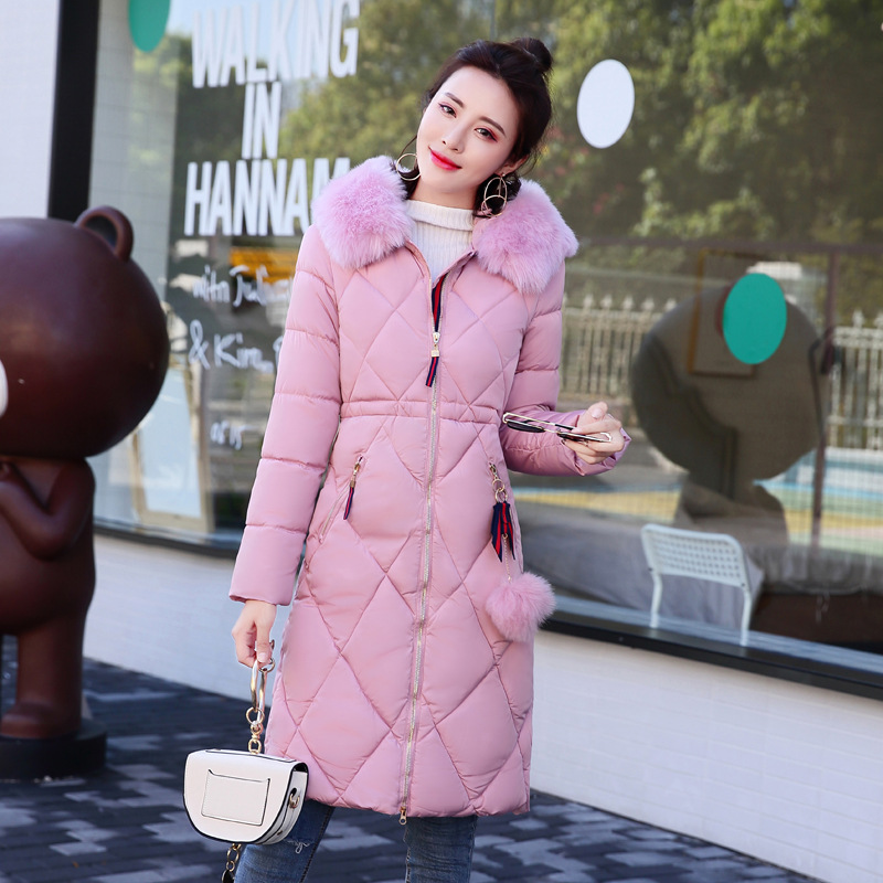 The new lady in the long coat size large cotton padded jacket slim Korean fur thick warm one generation 2015 real promotion space cotton coat jacket bolsa cherry free herbal tea wholesale agent huang ju oem processing one generation