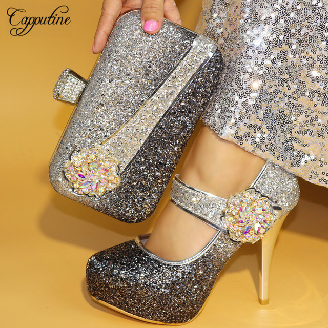 Capputine 2018 Fashion African Woman Shoes And Bag To Match Set For Party  Italian Style High Heels 12CM Shoes And Bag Set TX-861 314348f09fae