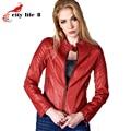 Leather Jacket Women 2015 Autumn Short Washed PU Leather Coat Female Slim Motorcycle Jacket Red Outerwear Zipper Pocket