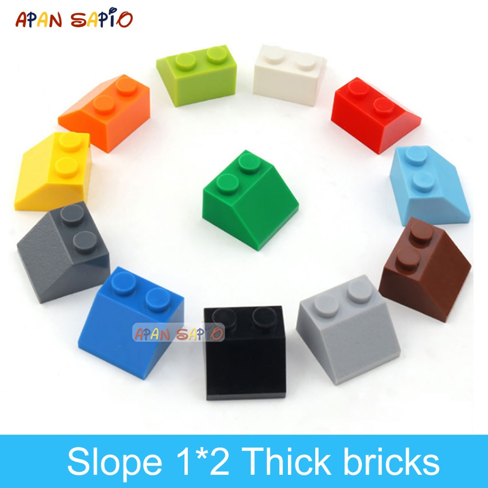 70pcs DIY Building Blocks Thick Figure Bricks Slope 1x2 Educational Creative Size Compatible With Lego Plastic Toys For Children