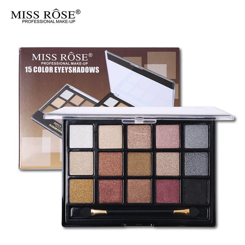 Miss Rose 15 Color Matte Shimmer Eyeshadow Palette Earth Color Glitter Shine Eye Shadow Nude Pink Pigment Natural Smoky Makeup