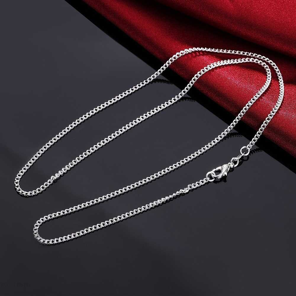 40cm-60cm Slim Thin Pure 925 Sterling Silver Side Curb Chain Choker Necklaces Women Girls Jewelry kolye collares collier ketting