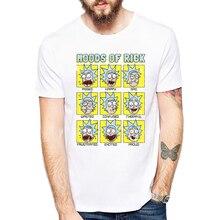 2018 Newest Summer Rick And Morty Men T-shirt Moods Of Rick Printed Fashion T shirt Short Sleeve Basic Tee Shirts Cool Tops