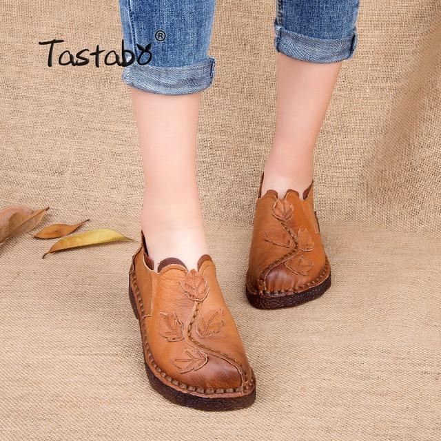 Tastabo Retro Autumn Shoe Women Fashion Handmade Leave Comfortable Women Folk Flat Shoe Femme Genuine Leather Soft Driving Shoe