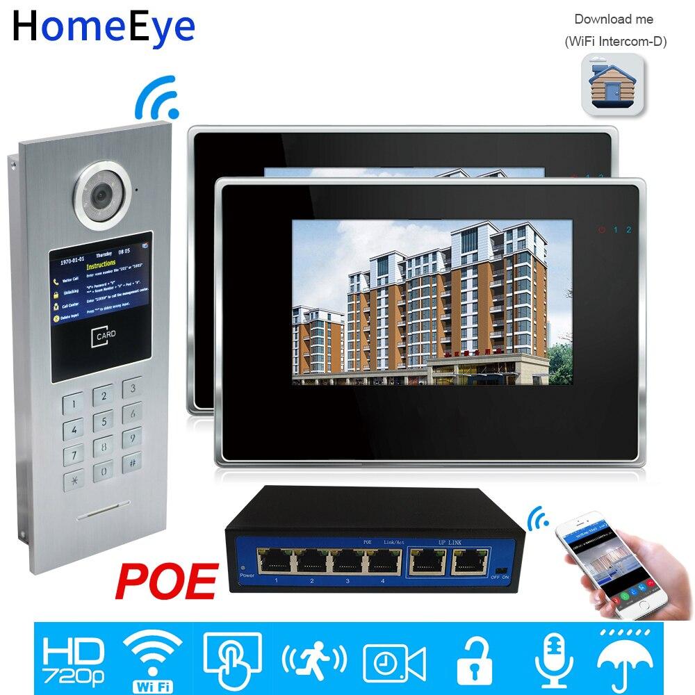 720P WiFi IP Video Door Phone Intercom Video Door Bell Access Control System Password/RFID Card IOS Android APP 7'' Touch Screen