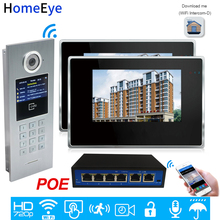 720P WiFi IP Video Door Phone Intercom Video Door Bell Access Control System Password/RFID Card iOS Android APP 7'' Touch Screen