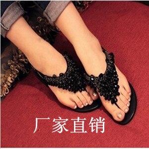 Bohemia 2013 beaded rhinestone flat sandals female flat heel flat women's flip-flop shoes