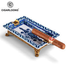 Cigarloong керамическая пепельница для сигар из белого и голубого