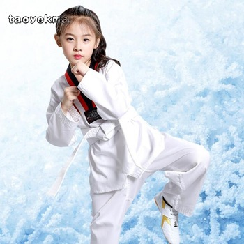 2019 niños Kimono Judo Kickboxing práctica blanco de traje chico niños niñas Taekwondo traje Karate Tae Kwon hacer ropa de traje de algodón