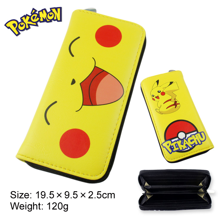 Pokemon Go PU leather Fashion zipper Long wallet Pikachu purse Coin purse bag Gifts for Children