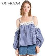 DOMODA Apparel Sexy Off Shoulder Women Tops Blue Plaid Slash Neck Cut Out Sweet Shirt Casual Elegant Cami Strap Blouse Cotton