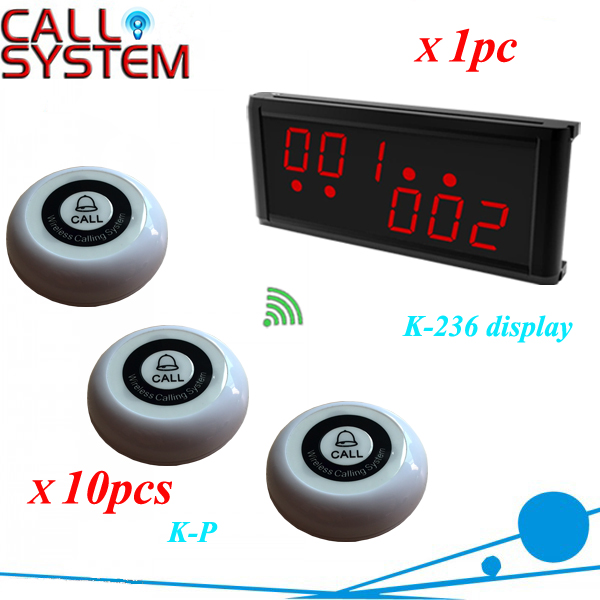 New product Restaurant bell buzzer systems 1 counter screen + 10 table service bell for catering equipment wireless service call bell system popular in restaurant ce passed 433 92mhz full equipment watch pager 1 watch 7 call button