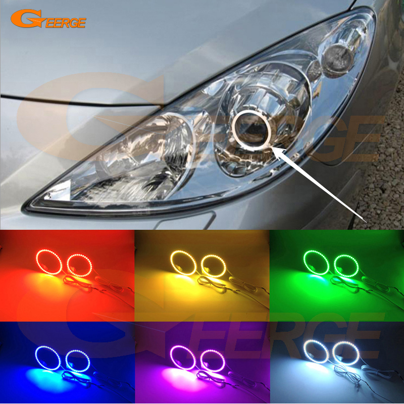 For Peugeot 307 2006 2007 2008 2009 2010 2011 2012 Excellent Angel Eyes Multi-Color Ultra bright 7 Colors RGB LED Angel Eyes kit